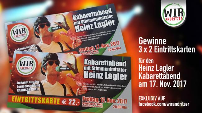 3 x 2 Eintrittskarten für den Heinz Lagler Kabarettabend zu gewinnen!